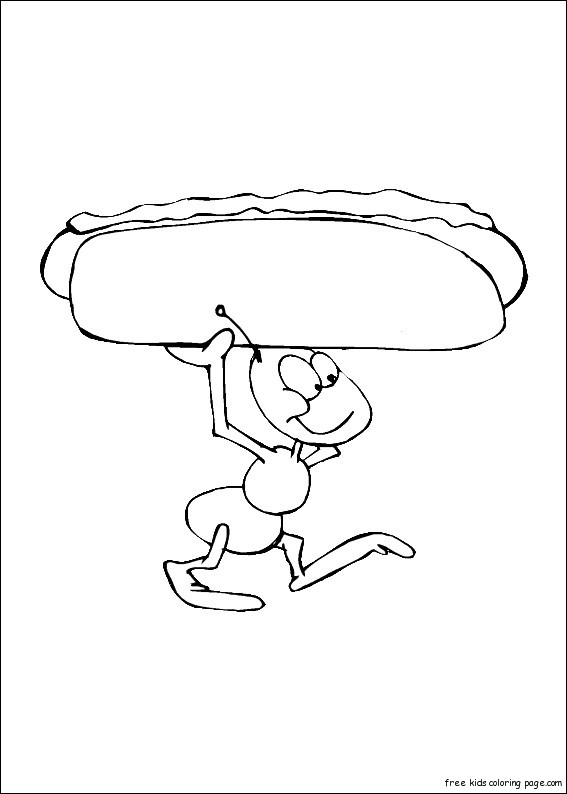 Print Out Ants With Hot Dog Coloring In Sheet For Kidsfree