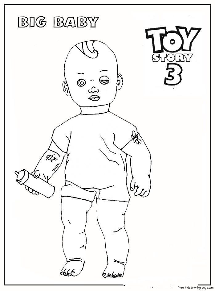 Big baby toy story 3 coloring pages for kidsfree printable for Baby toys coloring pages