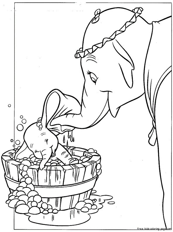 Disney Characters Dumbo And Mrs Jumbo Coloring Pagesfree