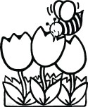 Coloring pages bee with tulips
