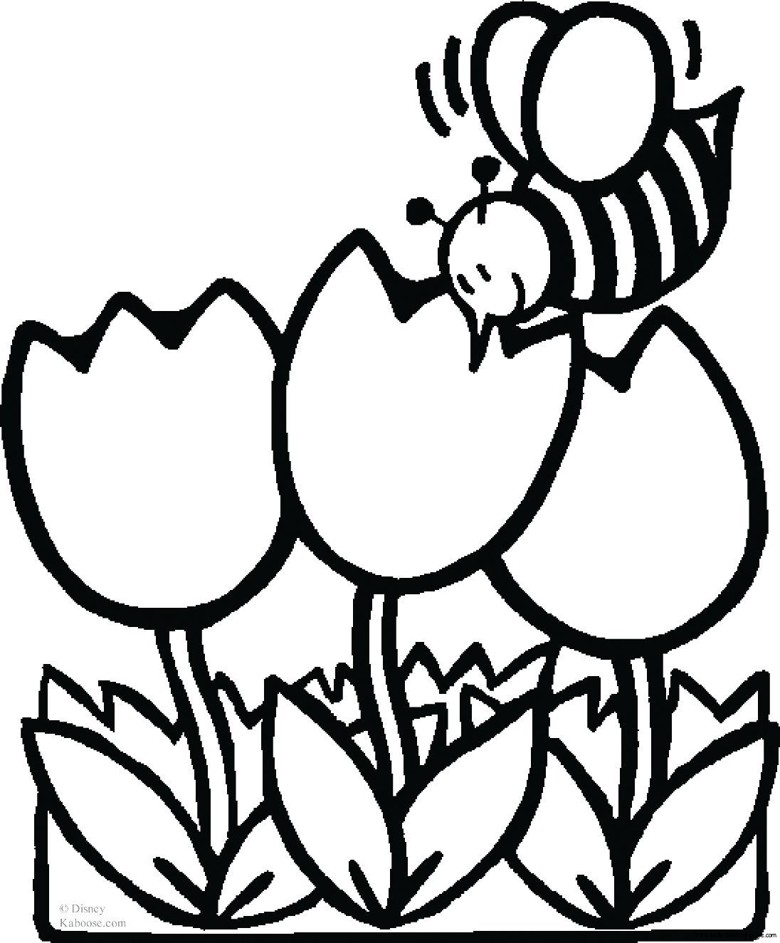 Coloring pages bee with tulips Free Printable Coloring