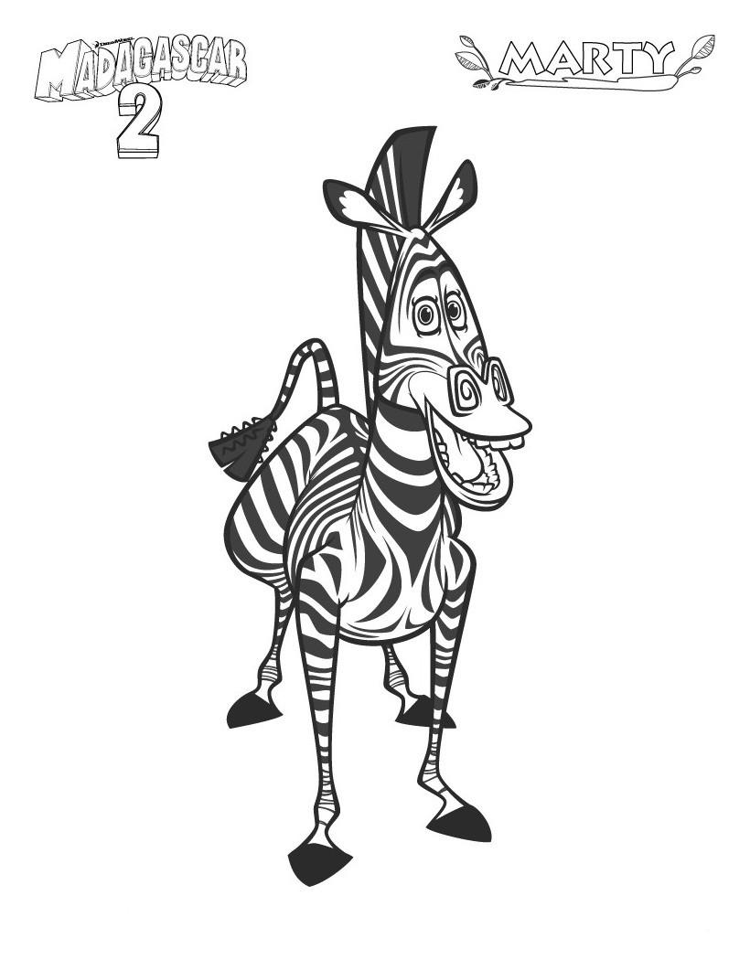 Printable madagascar 2 marty the zebra coloring pagefree for Madagascar characters coloring pages