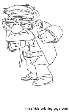 Printable Disney Up the Movie Carl Fredricksen sad coloring pages