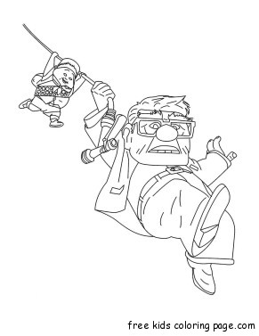 Printable Disney up Carl Fredricksen,Russell coloring pages