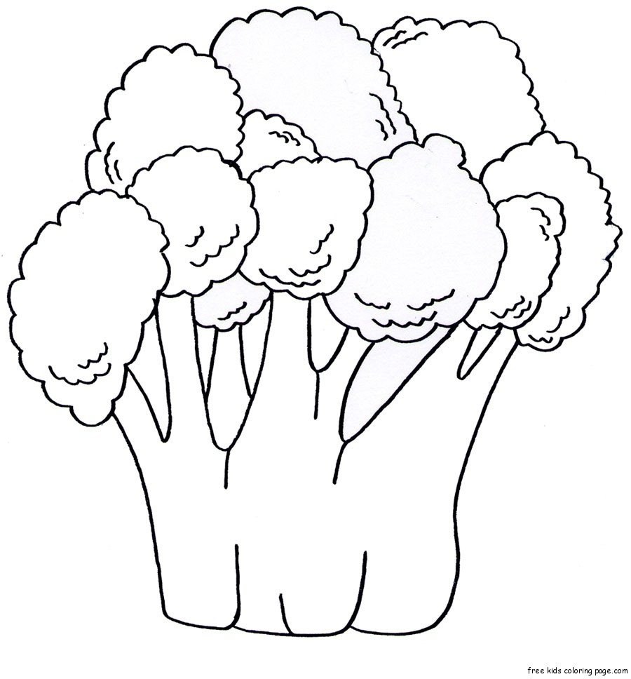 Coloring book pages fruits vegetables broccoli print for Coloring pages fruits and vegetables