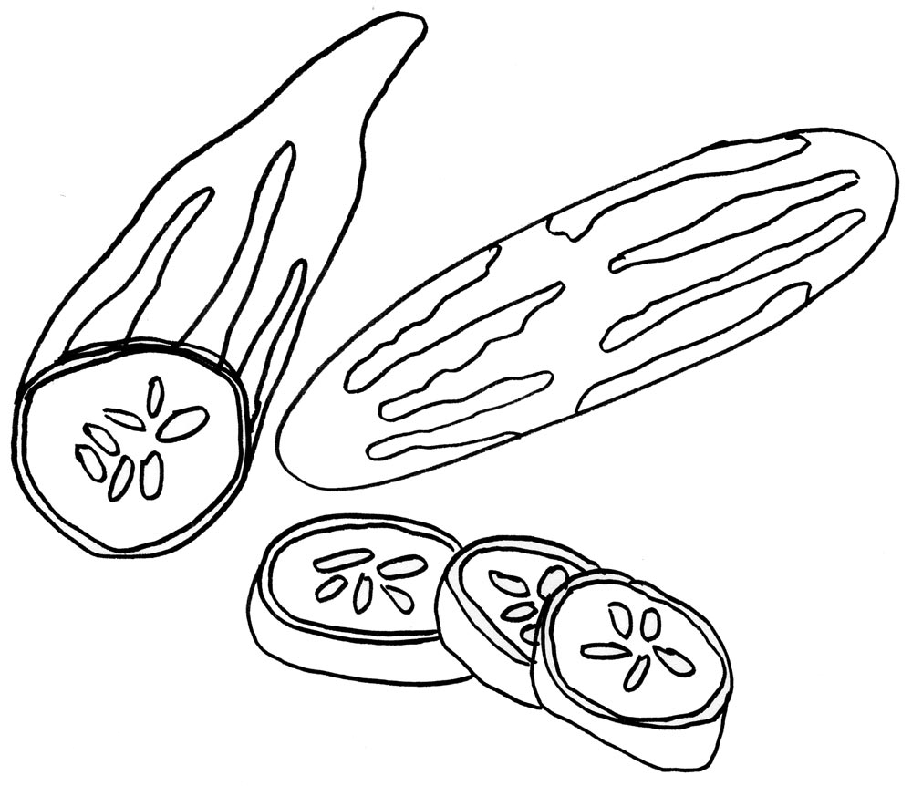 Vegetable cucumber coloring pages