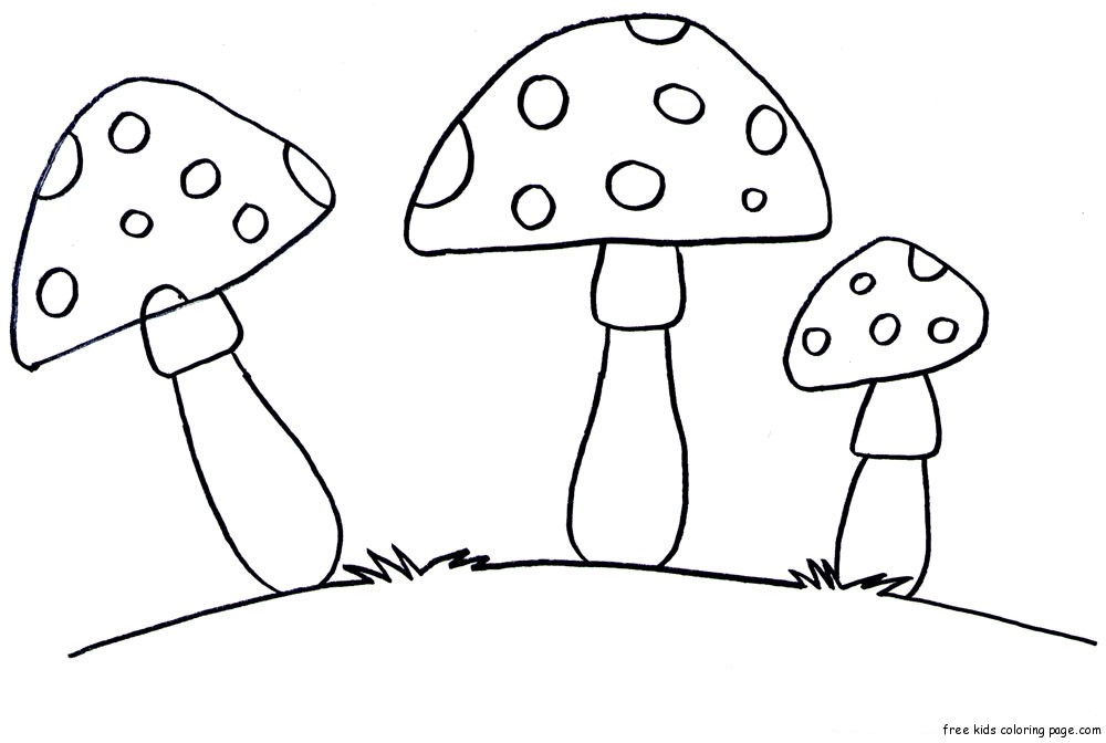 Printable Vegetable Mushrooms Coloring