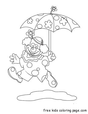 Printable coloring pages clown umbrella