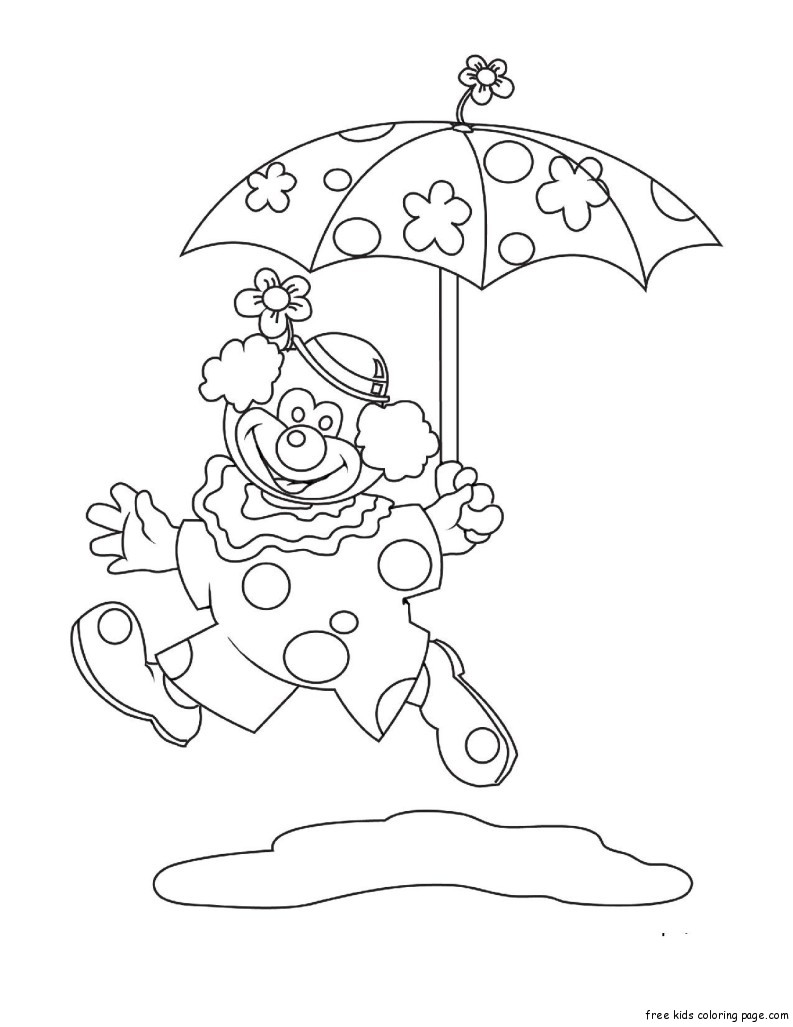 Coloring book pages clown umbrella printable for for Free clown coloring pages
