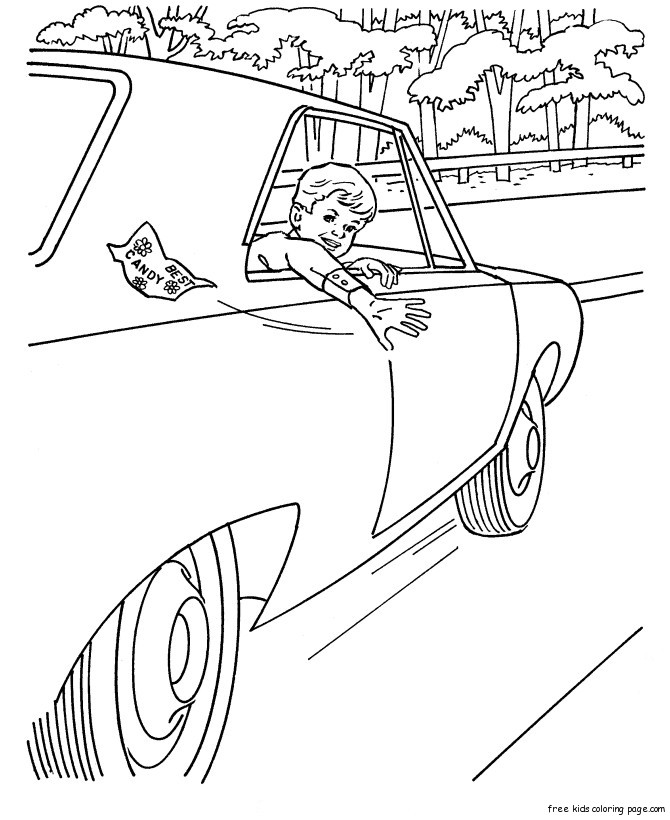Print out boys car colouring pages