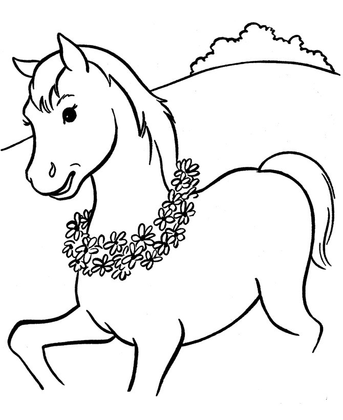 Animal Beautiful horses Colt walking coloring pageFree