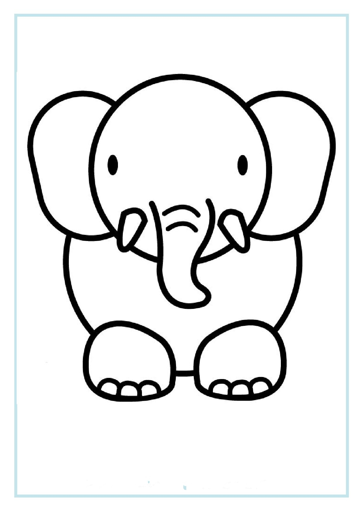 Printable elephant coloring pages for preschoolFree Printable