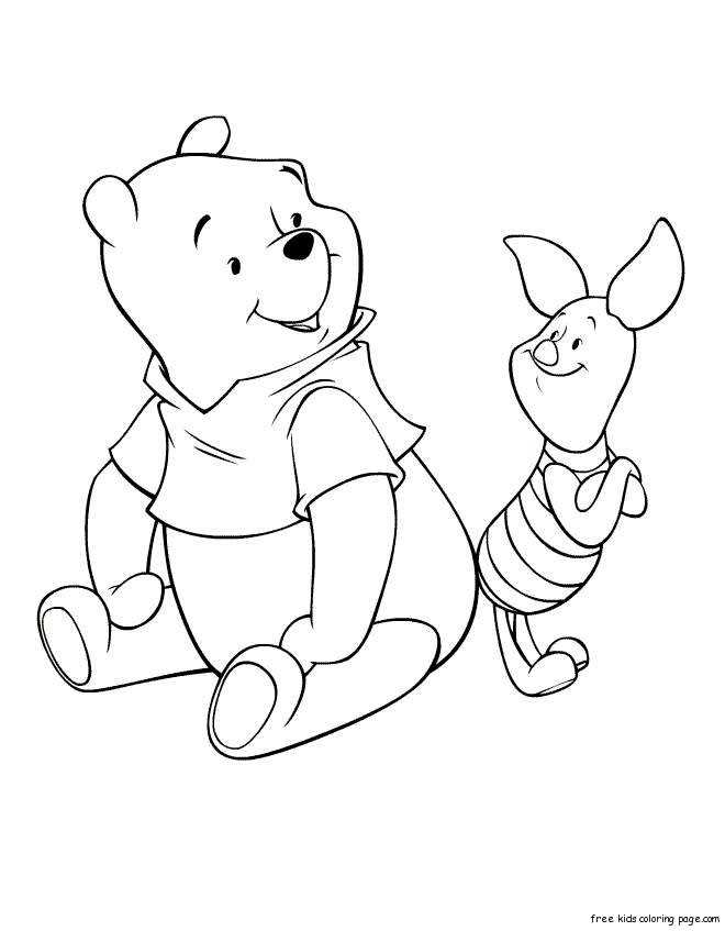 coloring pages of winnie the pooh and pigletFree Printable
