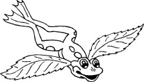 Coloring pages for kid Frog With Wings