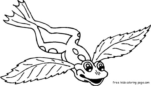 Frog with angel wings tattoo coloring pages for kidsfree for Angel coloring pages print out