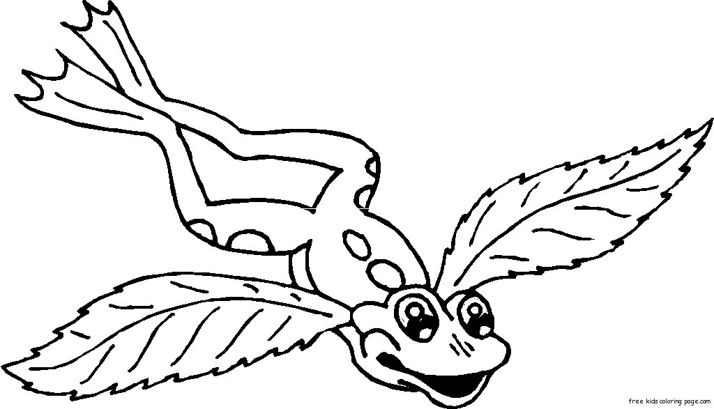 frog with angel wings tattoo coloring pages for kidsFree