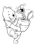 Coloring pages for kids Winnie the Pooh with honey