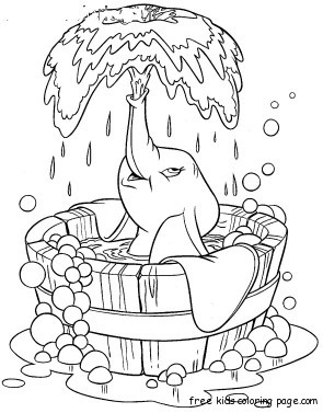 Coloring sheet of Disney Characters Dumbo taking bath tegninger