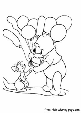Print out Disney Characters Winnie the Pooh and Roo coloring