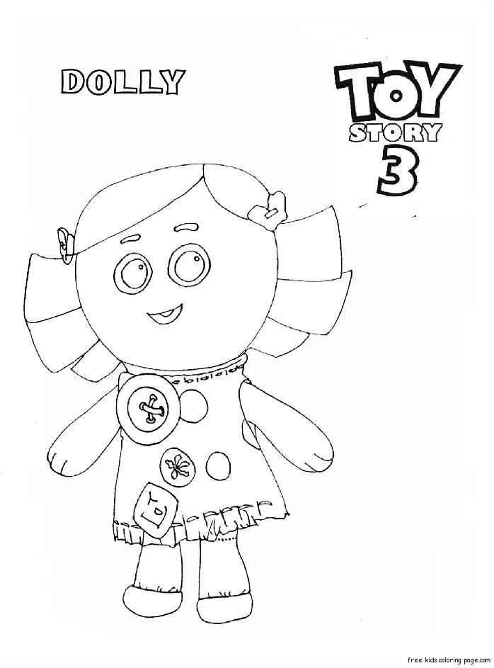 Printable toy story 3 dolly coloring