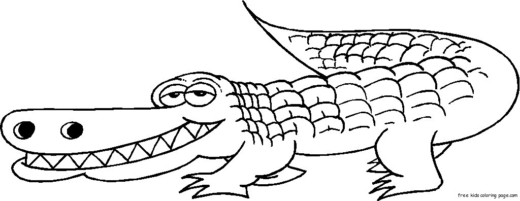 Dangerous Grinning Alligator coloring pages for kidsFree Printable