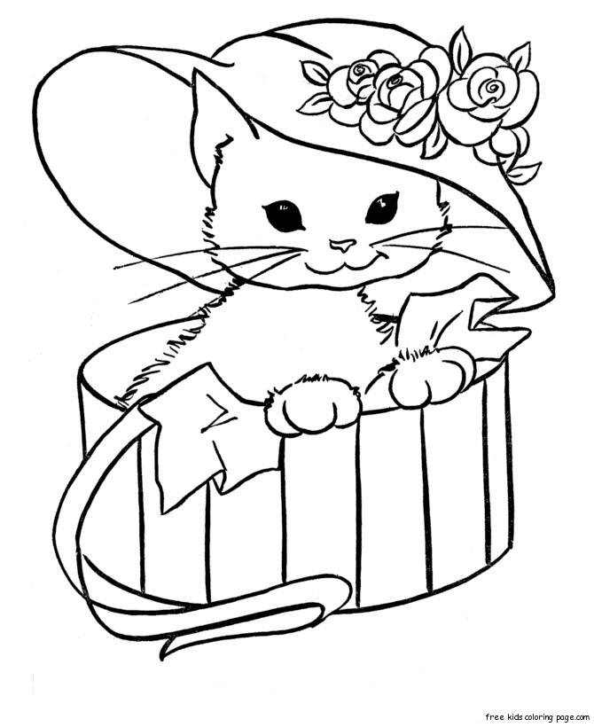 Kitty cat free printable coloring
