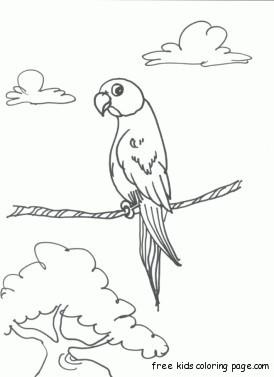 Parrots Printable coloring pages