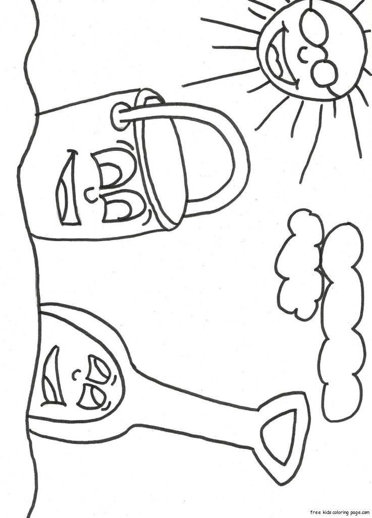 Print out Beach Pail and Shovel Coloring Book 1 Free