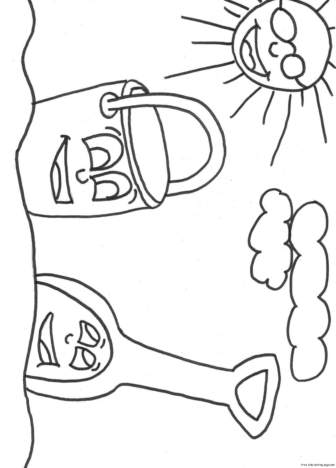 print out beach pail and shovel coloring bookfree