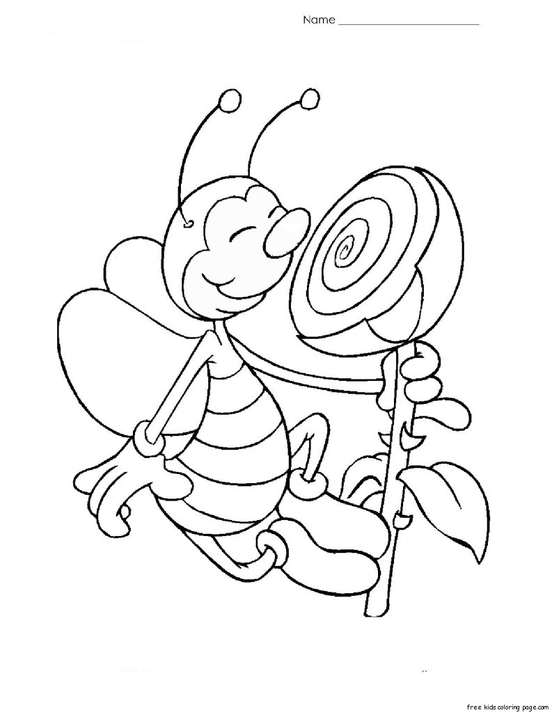 Print out coloring page Bee with