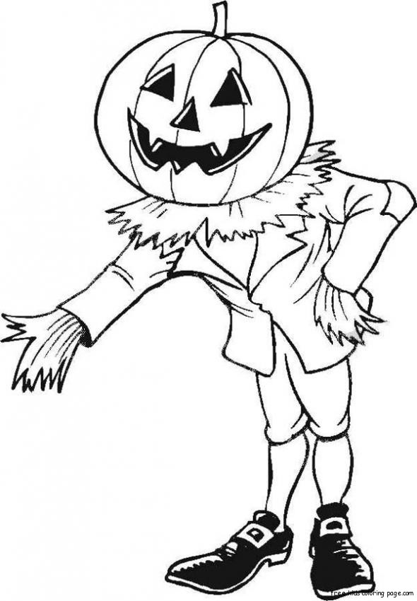 Printable Halloween Coloring Page Pumpkin Man For KidsFree