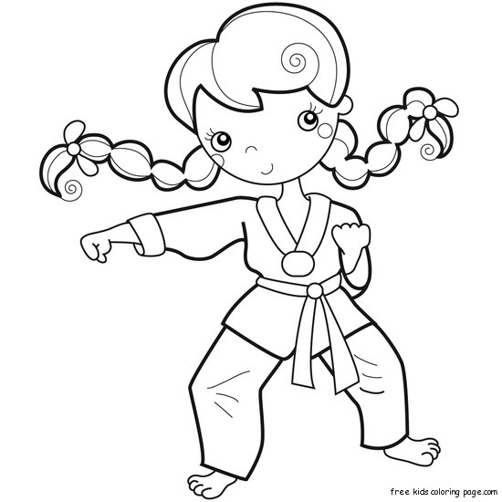 Printable girl training karate coloring pages for kidsFree
