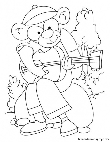 Printable Wild Animal Rockstar Monkey Coloring Pages