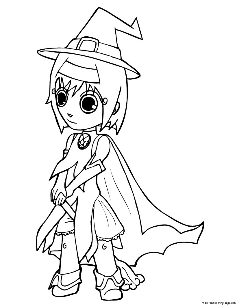 Print out halloween cut girls in witch costumes coloring for Witch color pages