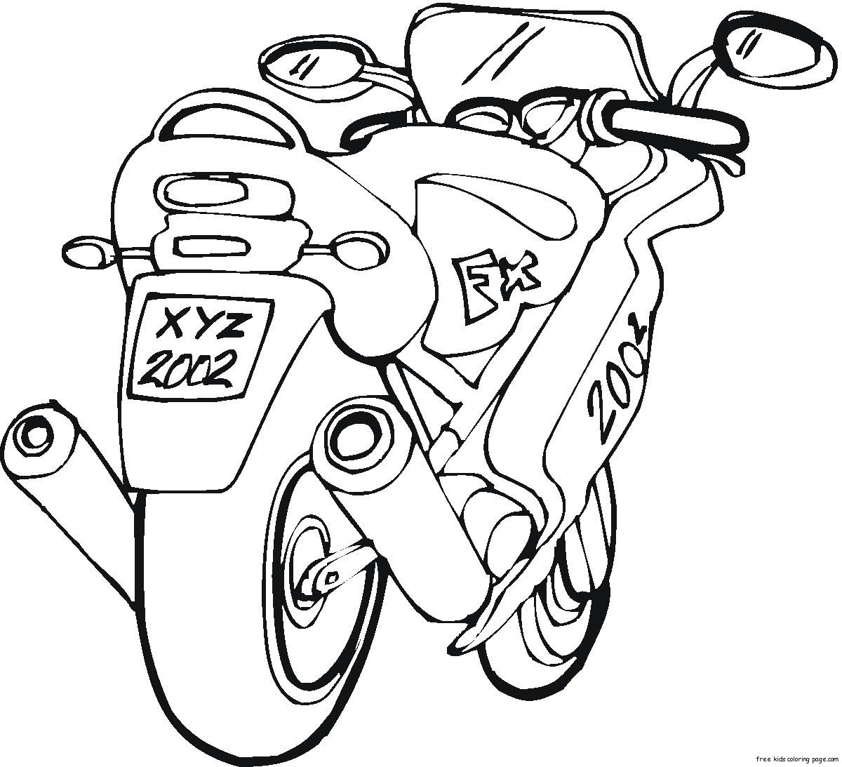 free motorbike colouring pictures