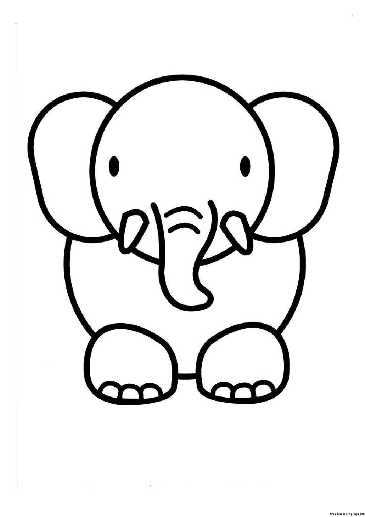 Print Out Animal Elephant Coloring Pages For KidsFree