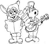 Christmas 2 Mouse Carollers singing Print out coloring pages