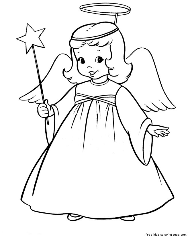 Christmas angel and star printable coloring pages for for Angel coloring book pages