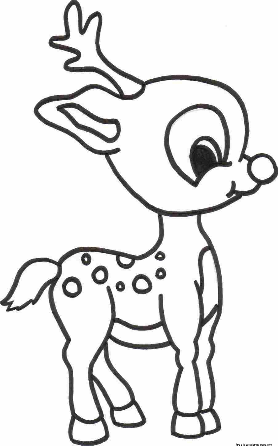 Christmas Baby Reindeer Printable Coloring pages for