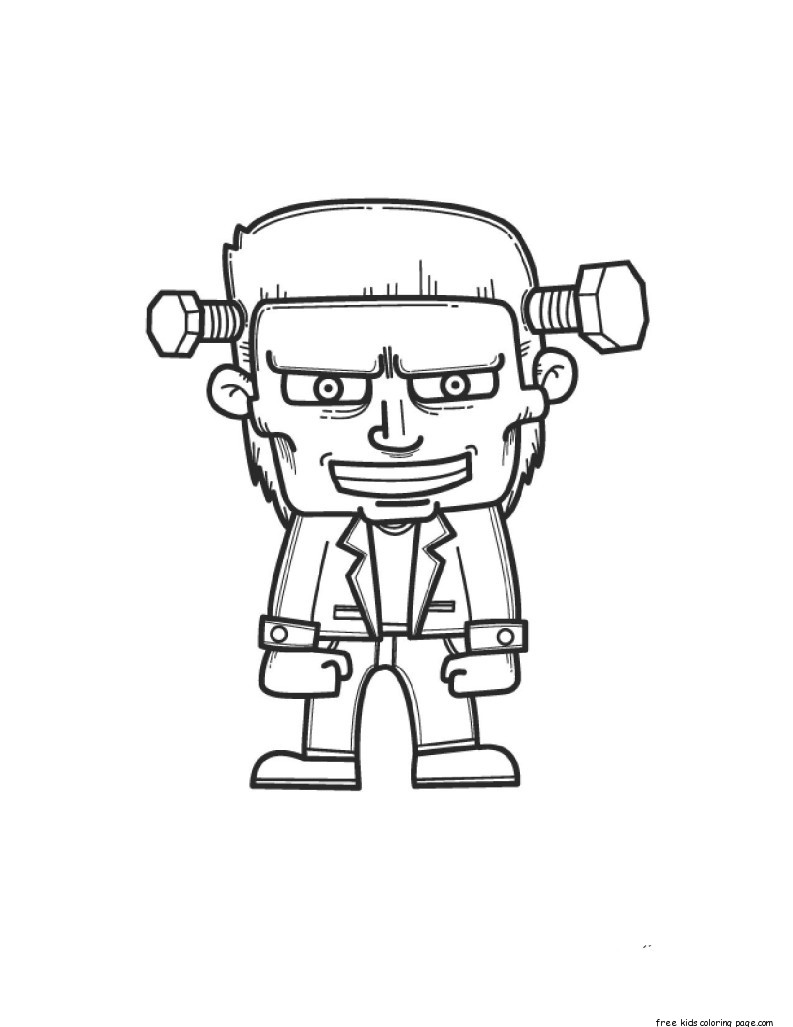 Frankenstein halloween coloring pages for kidsfree for Frankenstein coloring pages to print