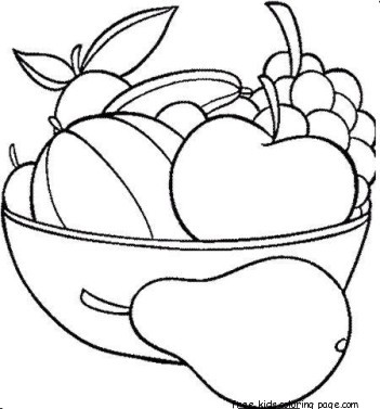 print out fruits pear watermelon and apple coloring in pagesfree