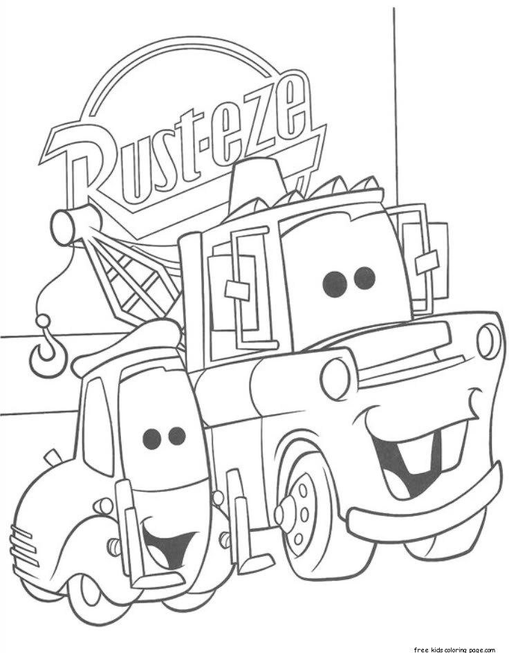 Printable guido and tow mater coloring pagefree printable for Coloring pages tow mater