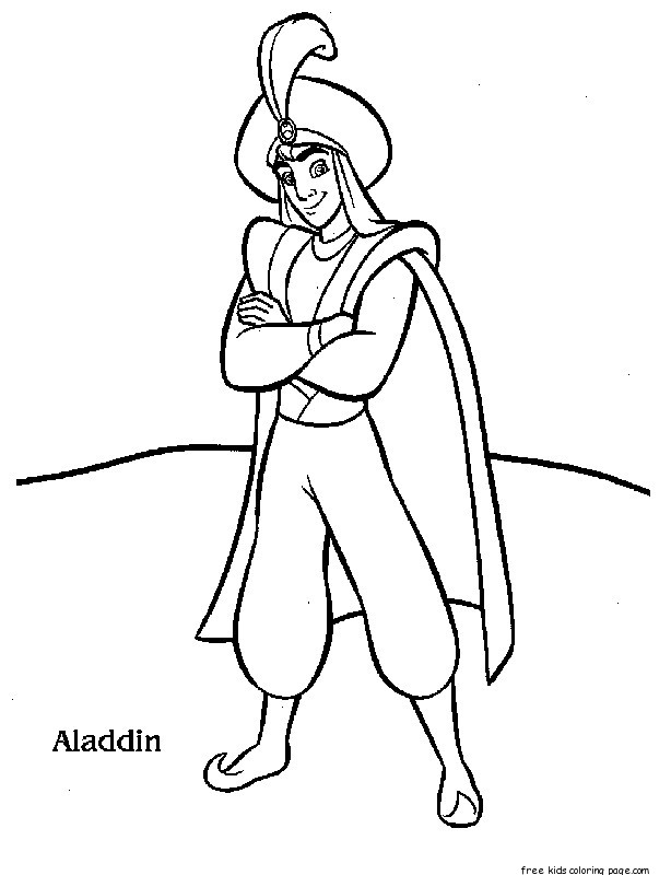 Free disney characters aladdin coloring page for kidsfree for Print out coloring pages disney