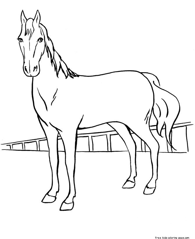 Print out coloring pages Race horses for kids Free