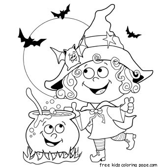Printable Halloween Witch Coloring Page