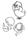 Printable  New Born Chick coloring page