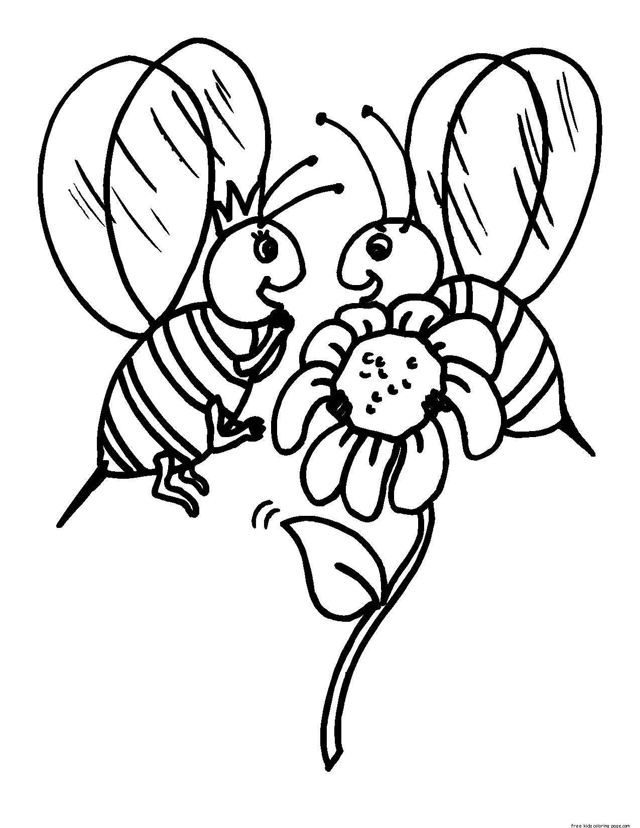 printable insects bees coloring pages for kidsfree printable