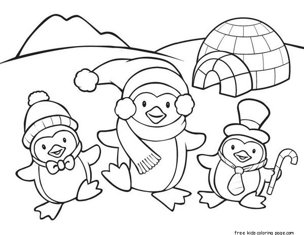 printable penguin coloring pages for kidsFree Printable Coloring