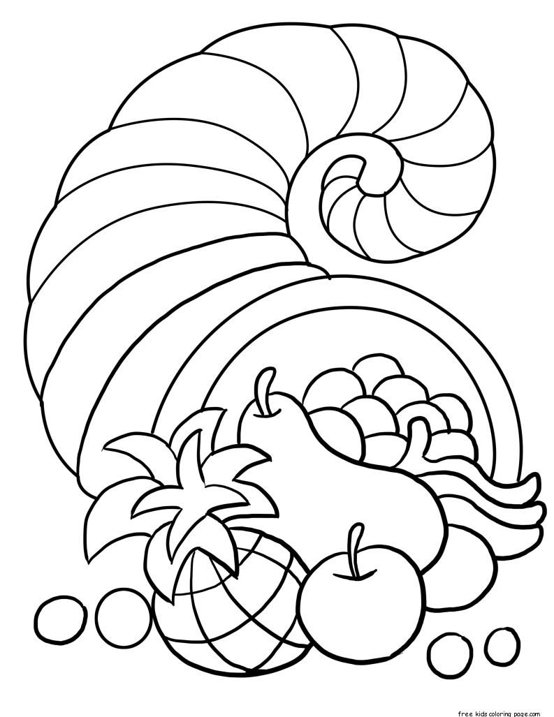 thanksgiving cornucopia coloring sheet for kidsFree ...