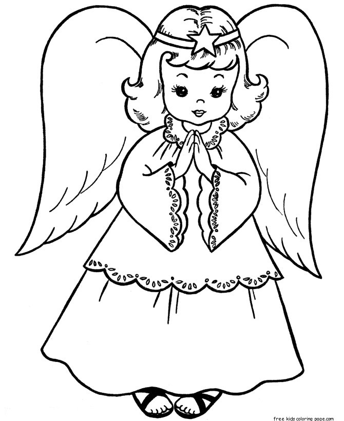 christmas angel colouring pages
